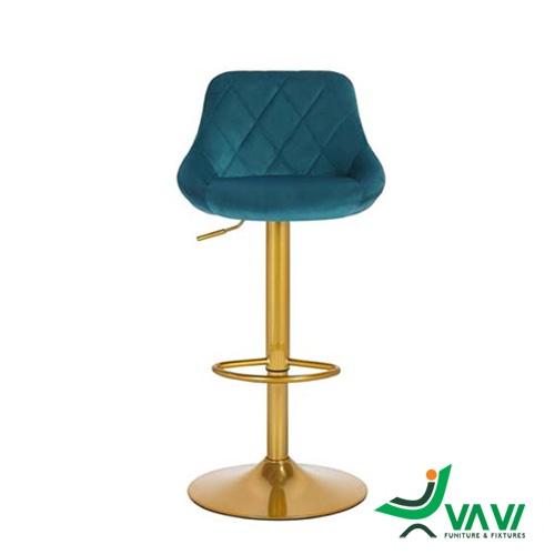 Ghế bar bọc nệm nhung chân mạ vàng cao cấp