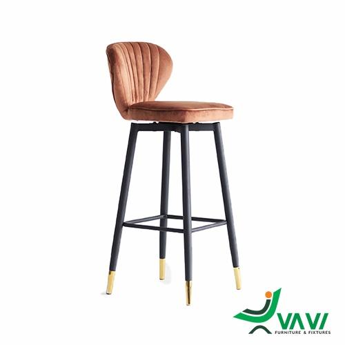 Ghế bar nệm nhung chân thép sơn tĩnh điện
