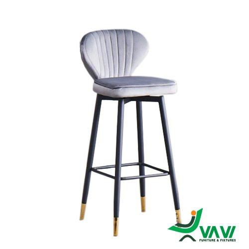Ghế quầy bar bọc nhung chân thép sơn tĩnh điện