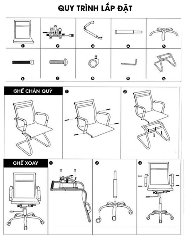 Hướng dẫn lắp ráp ghế chân quỳ lưng trung