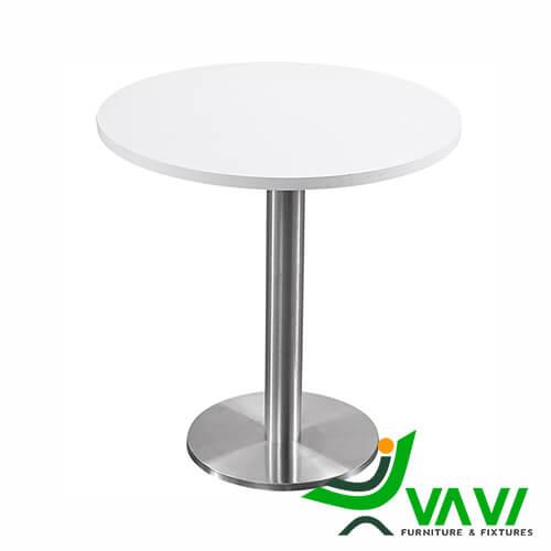 Bàn ăn bàn cafe tròn thân trụ inox hiện đại