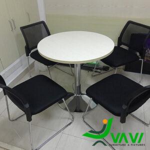 bàn ăn bàn cafe tròn thân trụ inox hiện đại cho văn phòng
