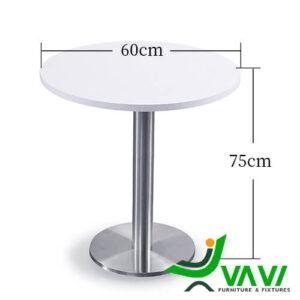 Kích thước bàn ăn bàn cafe tròn thân trụ inox hiện đại