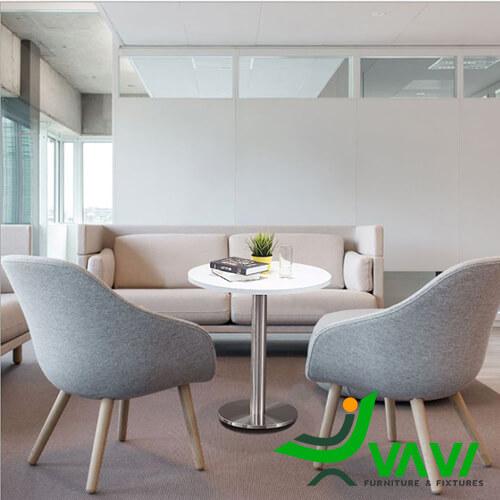 Bộ bàn ăn bàn cafe tròn thân trụ inox hiện đại