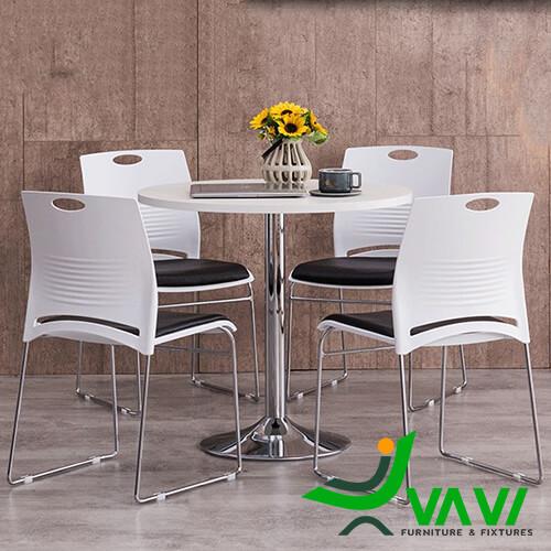 bàn ăn bàn cafe tròn thân trụ inox hiện đại nhập khẩu