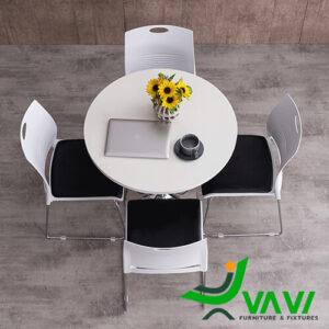 Bộ bàn ăn bàn cafe tròn thân trụ inox hiện đại nhập khẩu