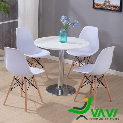 bàn ăn bàn cafe tròn thân trụ inox hiện đại đơn giản
