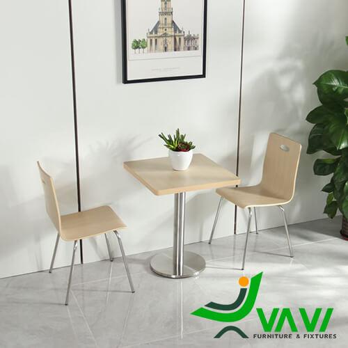 Bộ bàn ăn bàn cafe vuông mặt gỗ chân trụ nhập khẩu