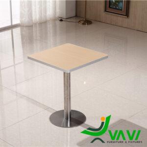 bàn ăn bàn cafe vuông mặt gỗ chân trụ nhập khẩu cao cấp