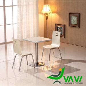 bàn ăn bàn cafe vuông mặt gỗ chân trụ nhập khẩu 2 ghế