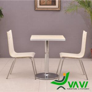 mẫu bàn ăn bàn cafe vuông mặt gỗ chân trụ nhập khẩu