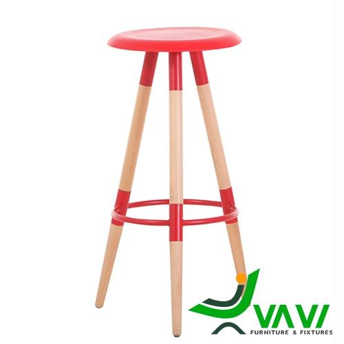 Ghế bar 3 chân gỗ mặt tròn màu đỏ