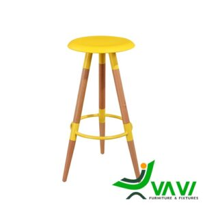 Ghế bar 3 chân gỗ mặt nhựa