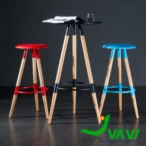Ghế bar 3 chân gỗ mặt tròn