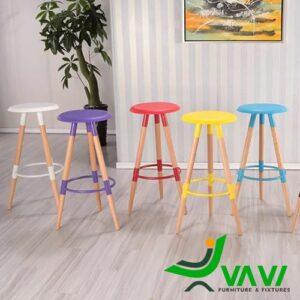 Ghế bar 3 chân gỗ mặt tròn nhiều màu