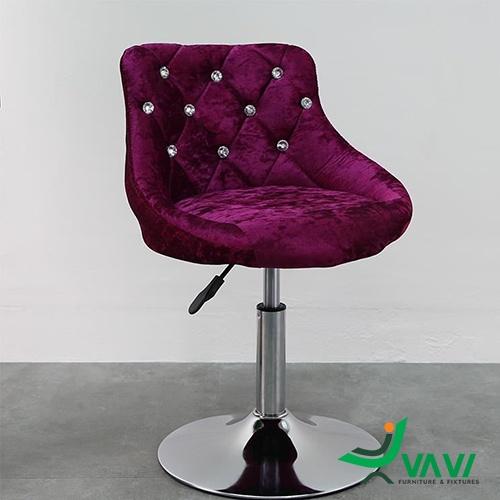 ghế bar chân thấp nệm nhung màu đỏ