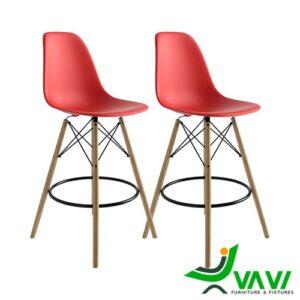 Ghế quầy bar chân gỗ lưng nhựa cao cấp