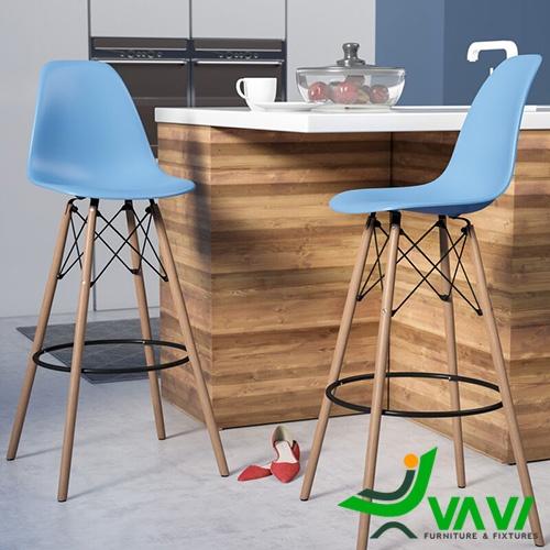 Ghế quầy bar eames chân gỗ lưng nhựa