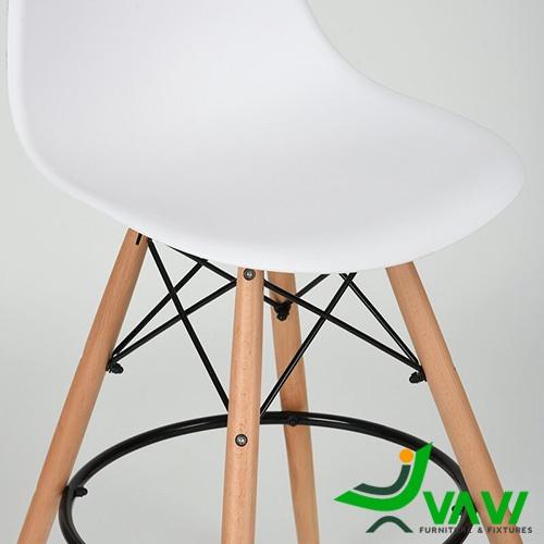 Ghế quầy bar eames chân gỗ lưng nhựa Hà Nội