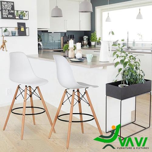 Ghế quầy bar chân gỗ lưng nhựa Eames