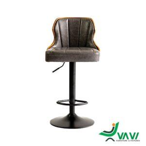 Ghế quầy bar chân sắt lưng gỗ bọc nệm Kazax cao cấp
