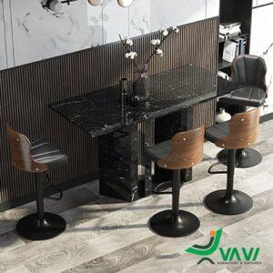 Ghế quầy bar chân sắt lưng gỗ bọc nệm Kazax nhập khẩu Hà Nội