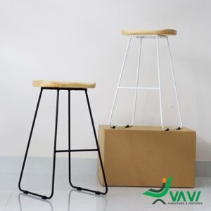 Ghế quầy bar chân sắt mặt gỗ cao cấp