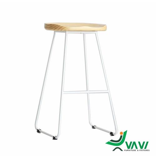 Ghế quầy bar chân sắt mặt gỗ cao cấp nhập khẩu
