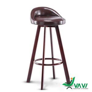Ghế quầy bar nệm bọc vải chân thép xoay 360 độ hiện đại