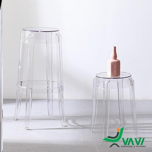 Ghế stool bar nhựa trong suốt hiện đại nhập khẩu