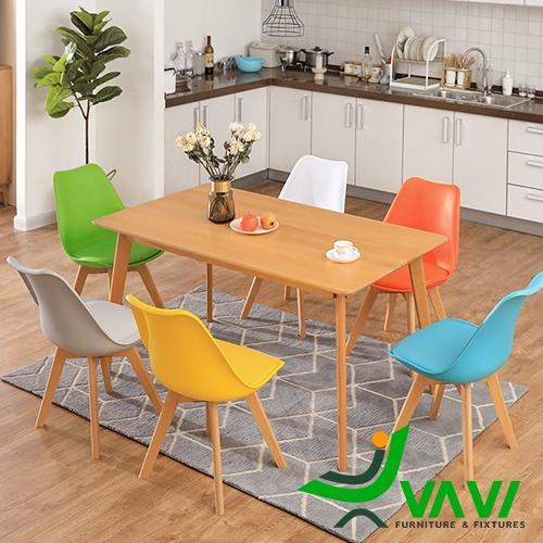 Bộ bàn ăn 6 ghế hiện đại nhập khẩu làm từ gỗ