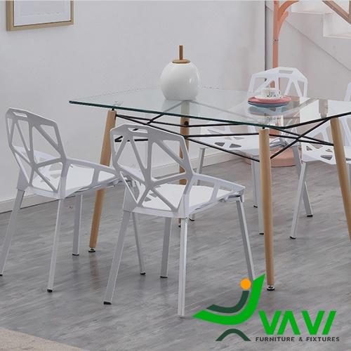 Bộ bàn ăn mặt kính 6 ghế