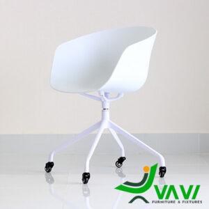 Ghế chân xoay nhôm cho văn phòng hiện đại màu trắng