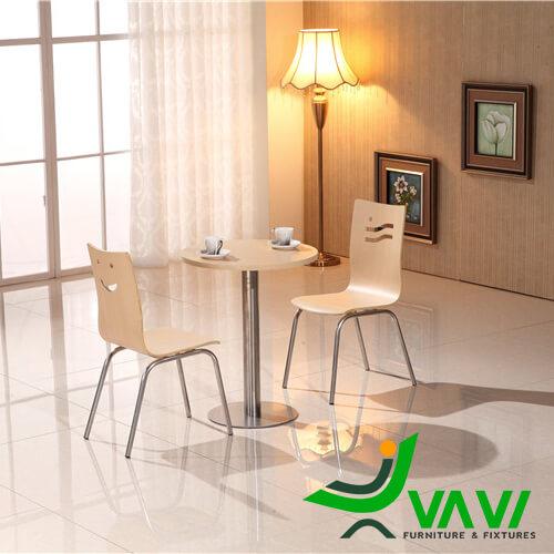 Bộ bàn ăn bàn cafe tròn mặt gỗ chân trụ