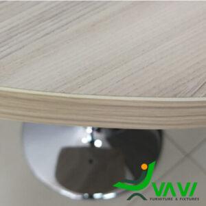 Bộ bàn ăn bàn cafe tròn mặt gỗ chân trụ cao cấp