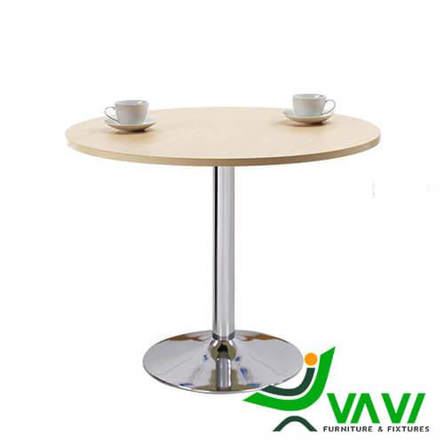 Bàn ăn bàn cafe tròn mặt gỗ chân trụ nhập khẩu