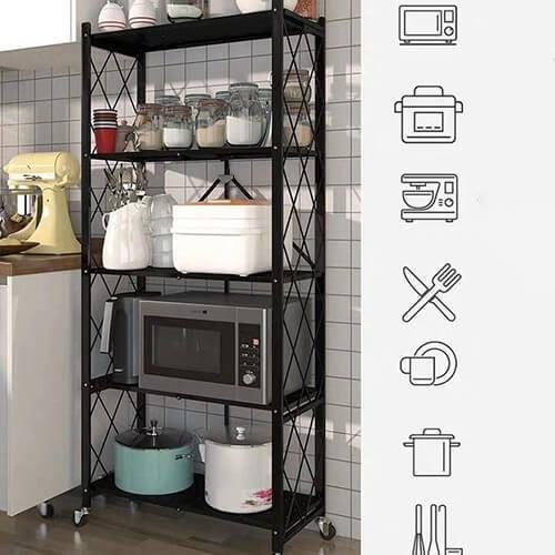 Kệ đa năng 5 tầng có bánh xe để đồ nhà bếp
