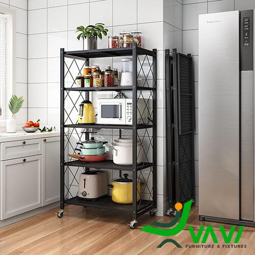 Kệ đa năng 5 tầng có bánh xe sử dụng trong nhà bếp