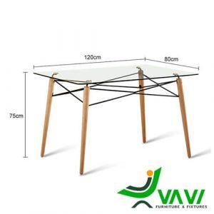 Kích thước bàn ăn Eames mặt kính hiện đại