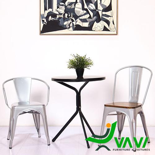 Bộ bàn cafe sắt sơn tĩnh điện ngoài trời hiện đại