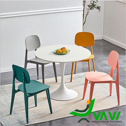 Bộ bàn ăn tròn 4 ghế nhựa đúc cao cấp đẹp