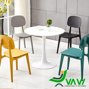 Bộ bàn ăn tròn 4 ghế nhựa đúc cao cấp nhập khẩu