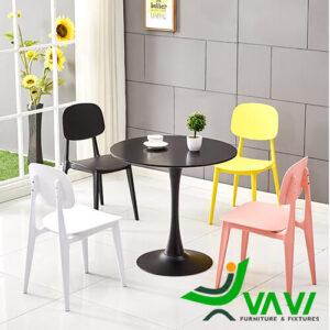 Bộ bàn ăn tròn 4 ghế nhựa đúc cao cấp