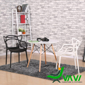 Bộ bàn cafe tròn chân gỗ 2 ghế kiểu cách