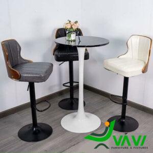 Bàn bar Tulip chân thép hiện đại nhập khẩu 3 ghế