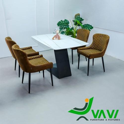 Bộ bàn ghế phòng ăn 4 ghế bọc da hiện đại