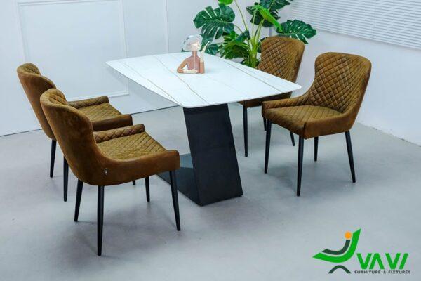 Bộ bàn ghế phòng ăn 4 ghế bọc da hiện đại nhập khẩu