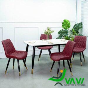 Bộ bàn ghế phòng ăn bàn đá đen 4 ghế da cao cấp nhập khẩu