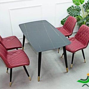 Bộ bàn ghế phòng ăn bàn đá 4 ghế da cao cấp