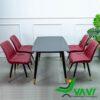 Bộ bàn ghế phòng ăn bàn đá đen 4 ghế da cao cấp
